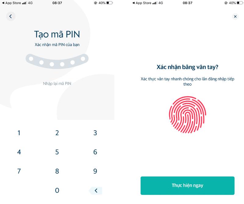 Tạo mã PIN và xác thực vân tay cho ví SmartPay
