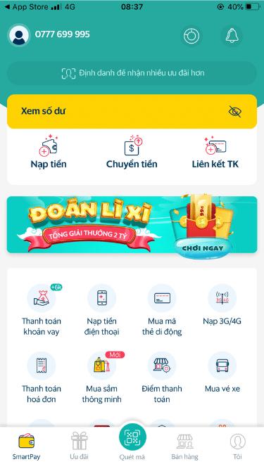 Giao diện ví điện tử SmartPay