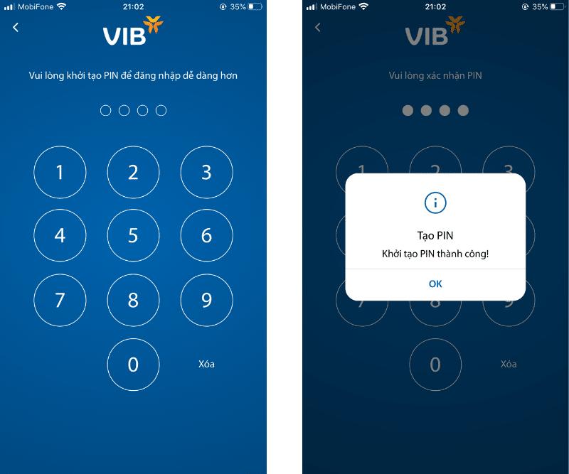 Mở tài khoản VIB online - Khởi tạo mã PIN đăng nhập