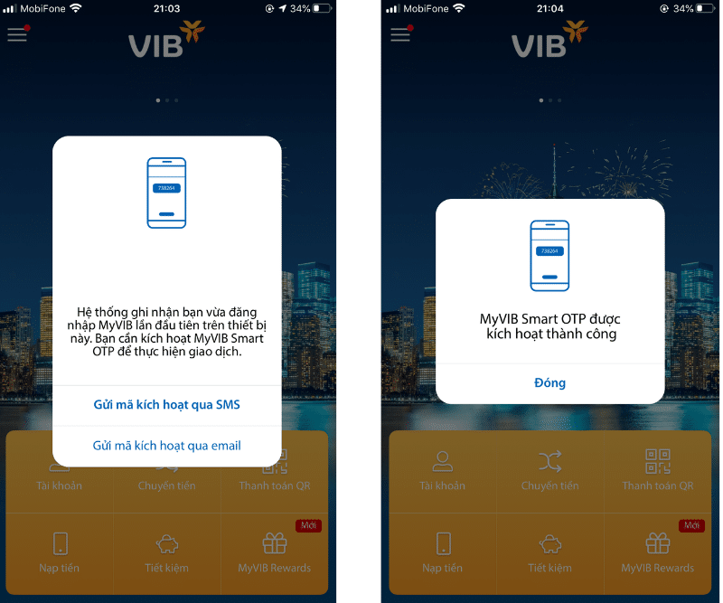 Mở tài khoản VIB online - Đăng ký MyVIB Smart OTP