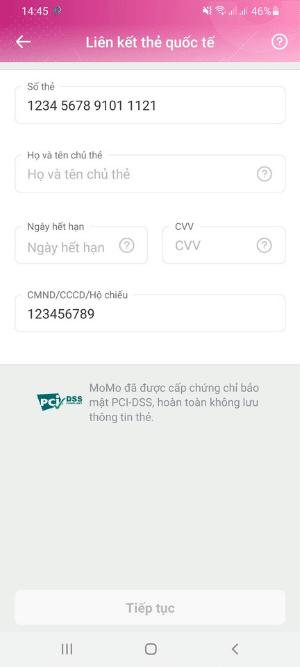Nạp tiền Momo từ thẻ thanh toán quốc tế