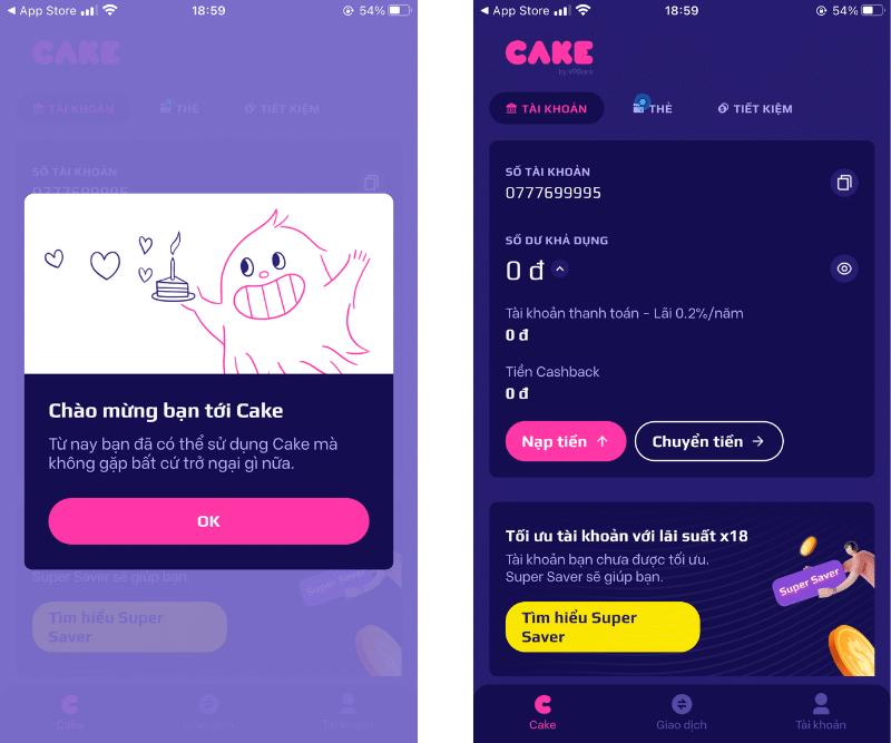 Mở tài khoản Cake thành công