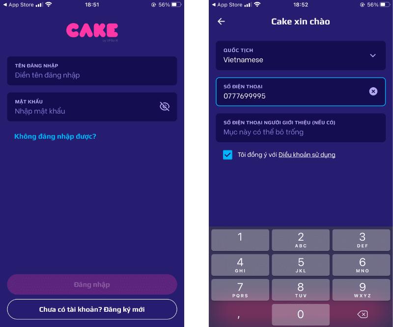 Chọn đăng ký và nhập số điện thoại để mở tài khoản Cake