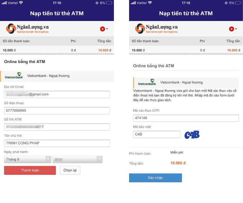 Nạp tiền từ thẻ ATM nội địa vào tài khoản Cake