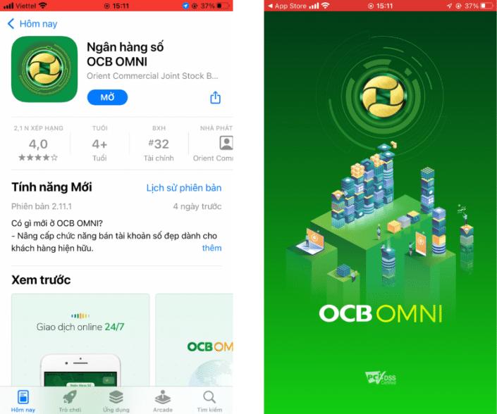Mở app OCB OMNI